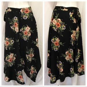 Topshop Size 4 Floral Long Asymmetrical Skirt